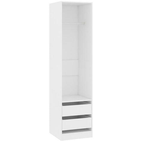 vidaXL Wardrobe with Drawers White 50x50x200 cm Chipboard - White