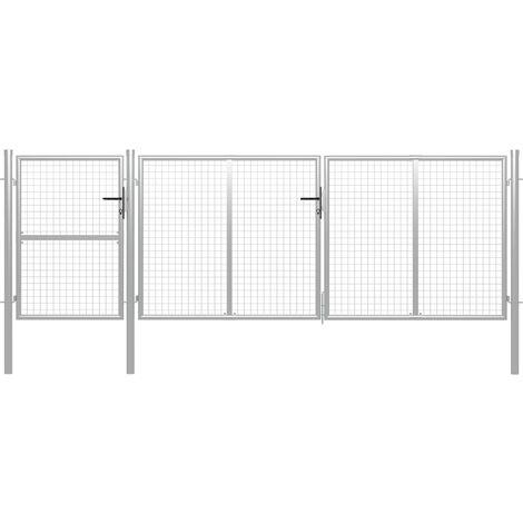 vidaXL Garden Gate Steel 400x125 cm Silver - Silver