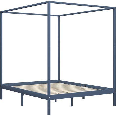 vidaXL Canopy Bed Frame Solid Pine Wood Grey 6FT Super King - Grey