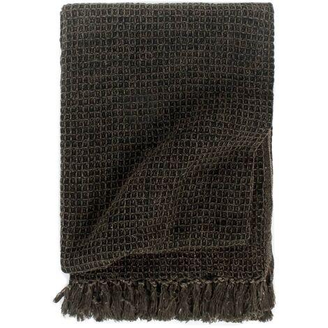 vidaXL Throw Cotton 125x150 cm Anthracite/Brown - Grey