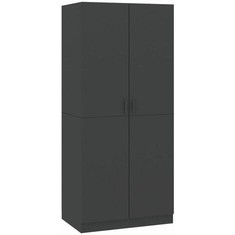 vidaXL Wardrobe 80x52x180 cm Chipboard Grey - Grey