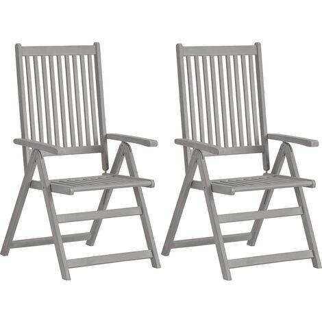 vidaXL Garden Reclining Chairs 2 pcs Grey Solid Acacia Wood - Grey