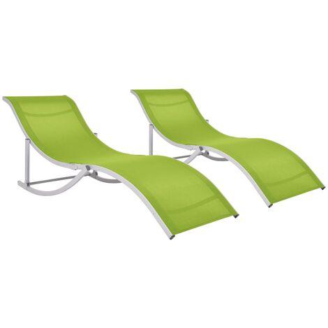 vidaXL Folding Sun Loungers 2 pcs Green Textilene - Green