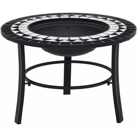 vidaXl Mosaic Fire Pit Black and White 68cm Ceramic - Black