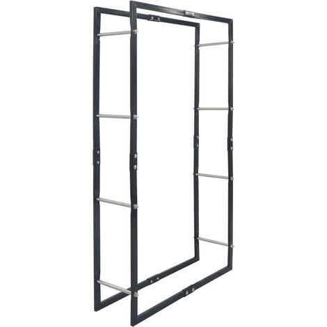 vidaXL Firewood Rack Black 80x25x150 cm Steel - Black