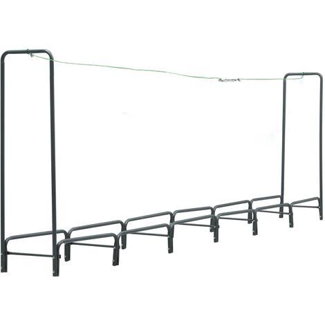 vidaXL Firewood Rack Anthracite 360x35x120 cm Steel - Grey