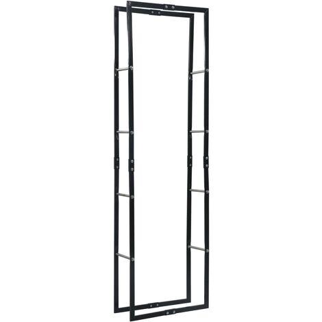 vidaXL Firewood Rack Black 60x25x200 cm Steel - Black