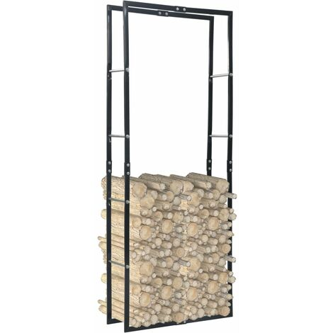 vidaXL Firewood Rack Black 80x25x200 cm Steel - Black