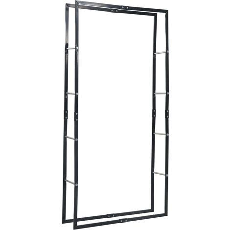 vidaXL Firewood Rack Black 100x25x200 cm Steel - Black