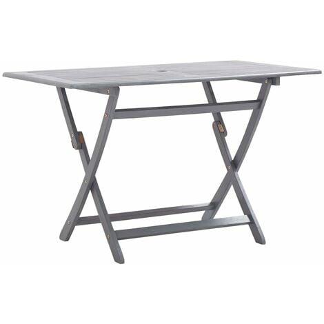 vidaXL Folding Garden Table 120x70x75 cm Solid Acacia Wood - Grey