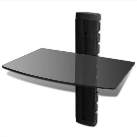 vidaXL Wall Mounted Glass DVD Shelf Black 1-tier - Black