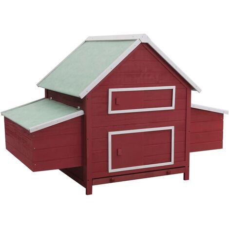 vidaXL Chicken Coop Red 157x97x110 cm Wood - Red