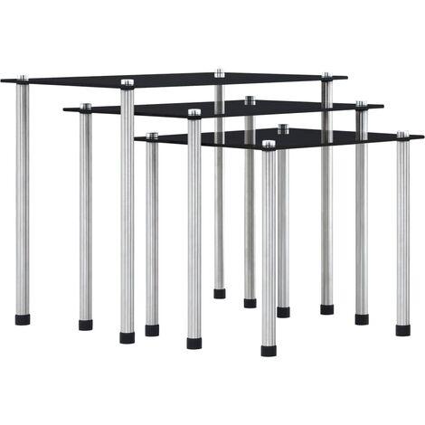 vidaXL Nesting Tables 3 pcs Black Tempered Glass - Black