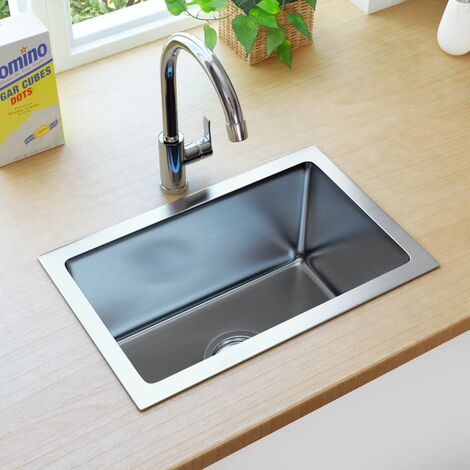 vidaXL Handmade Kitchen Sink with Strainer Stainless Steel - Silver