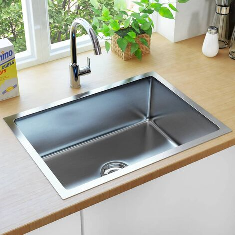 vidaXL Handmade Kitchen Sink with Strainer Stainless Steel - Silver