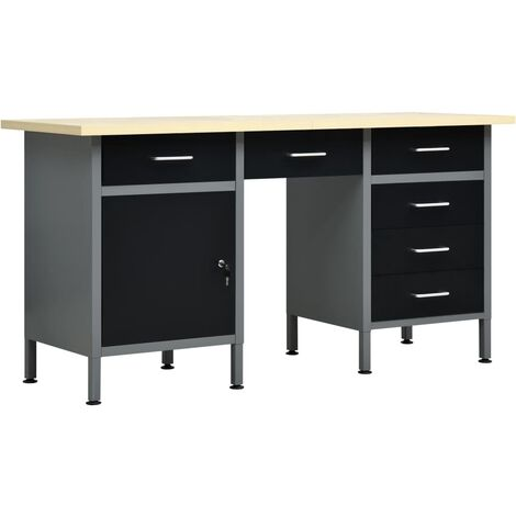 vidaXL Workbench Black 160x60x85 cm Steel - Black