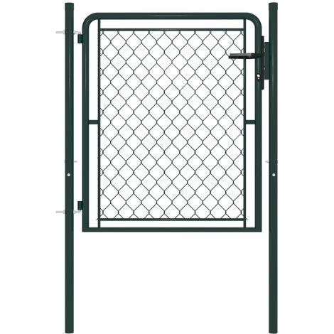 vidaXL Garden Gate Steel 100x75 cm Green - Green