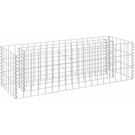 vidaXL Gabion Raised Bed Galvanised Steel 90x30x30 cm - Silver