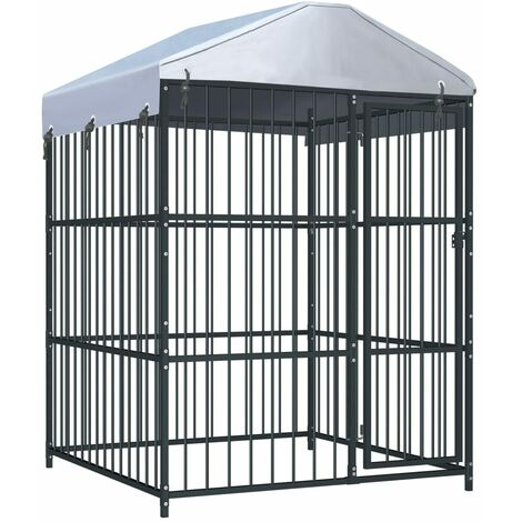 vidaXL Outdoor Dog Kennel with Roof 150x150x210 cm - Black