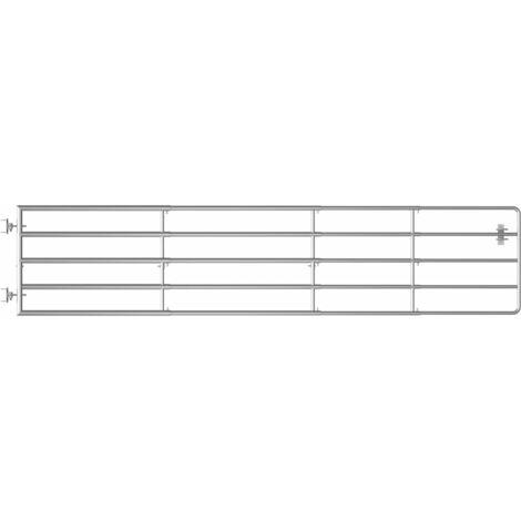 vidaXL 5 Bar Field Gate Steel (150-400)x90 cm Silver - Silver