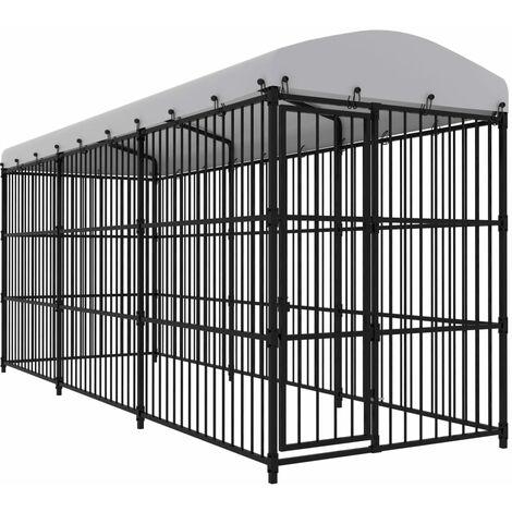 vidaXL Outdoor Dog Kennel with Roof 450x150x210 cm - Black