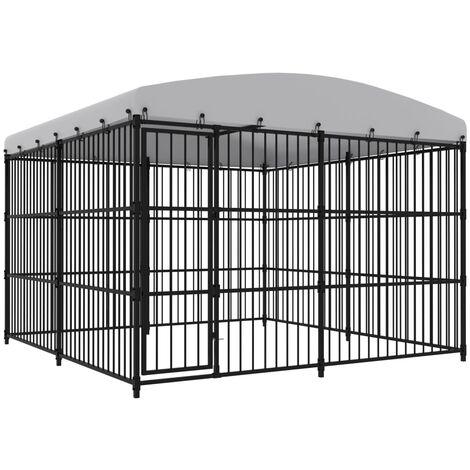 vidaXL Outdoor Dog Kennel with Roof 300x300x210 cm - Black