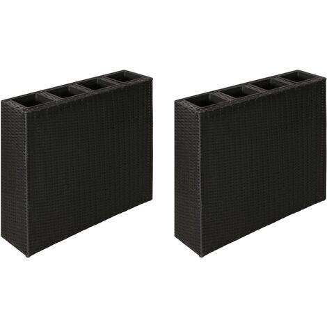 vidaXL Garden Raised Bed with 4 Pots 2 pcs Poly Rattan Black(2x41084) - Black