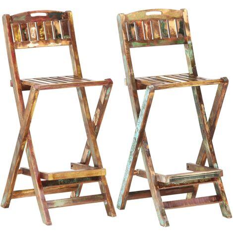 vidaXL Folding Outdoor Bar Chairs 2 pcs Solid Reclaimed Wood - Brown