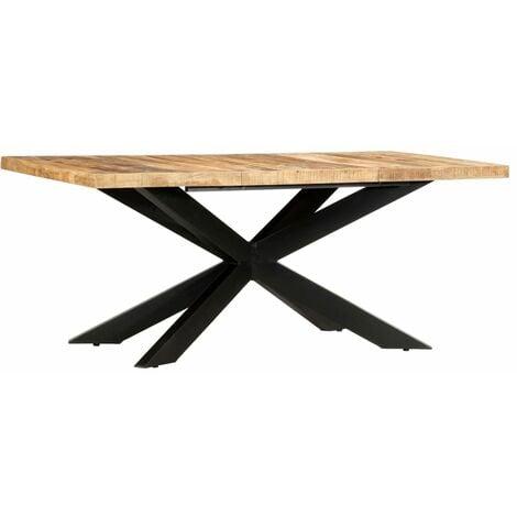 vidaXL Dining Table 180x90x76 cm Solid Rough Mango Wood - Brown