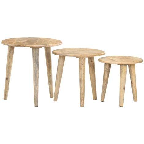 vidaXL Nesting Tables 3 pcs Solid Mango Wood - Brown