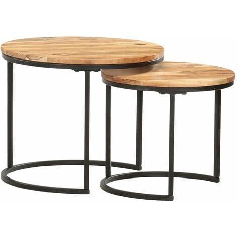 vidaXL Nesting Tables 2 pcs Solid Acacia Wood - Brown