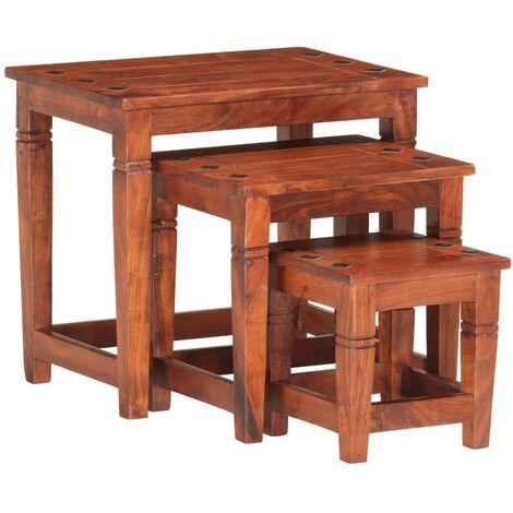 vidaXL Nesting Tables 3 pcs Solid Acacia Wood - Brown