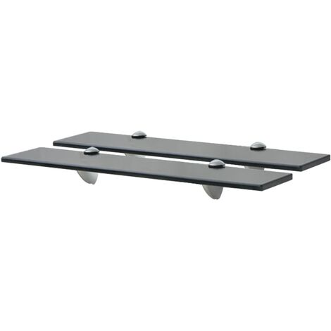 vidaXL Floating Shelves 2 pcs Glass 8 mm 50x20 cm - Black