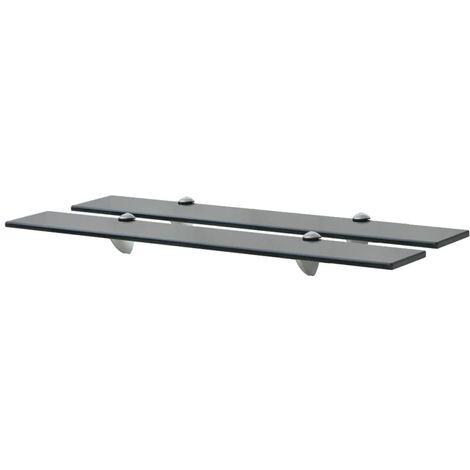 vidaXL Floating Shelves 2 pcs Glass 8 mm 70x20 cm - Black