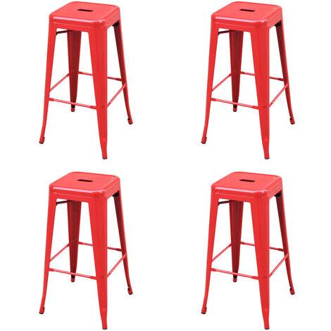 vidaXL Bar Stools Steel 4 pcs Red - Red