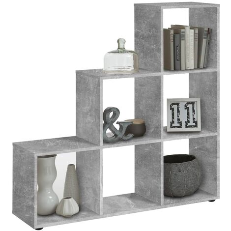FMD Room Divider with 6 Compartments Concrete Grey - Grey