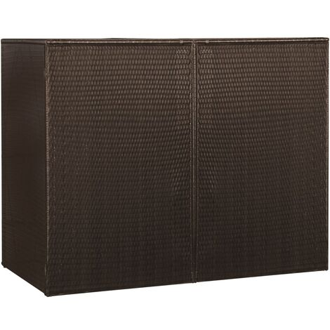vidaXL Double Wheelie Bin Shed Brown 153x78x120 cm Poly Rattan - Brown