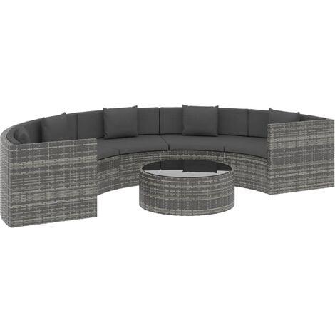vidaXL 6 Piece Garden Lounge Set with Cushions Poly Rattan Grey (UK/IE/FI/NO Only) - Grey