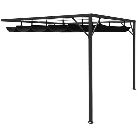 vidaXL Garden Wall Gazebo with Retractable Roof Canopy 3x3 m Anthracite - Anthracite
