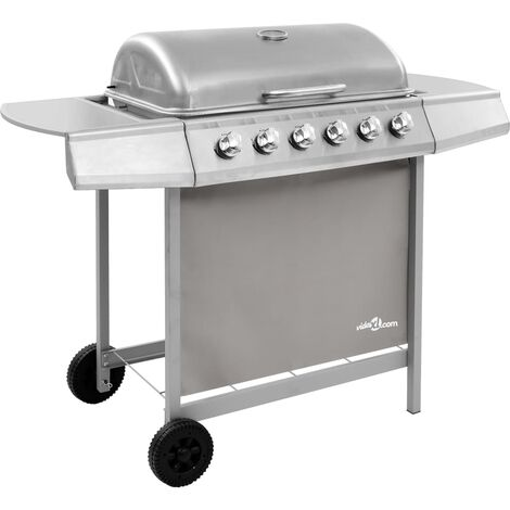 vidaXL Gas BBQ Grill with 6 Burners Silver (FR/BE/IT/UK/NL only) - Silver