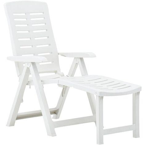 vidaXL Folding Sun Lounger Plastic White - White