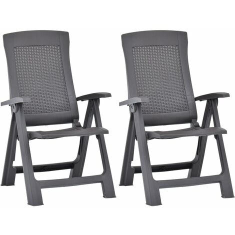 vidaXL Garden Reclining Chairs 2 pcs Plastic Mocca - Brown