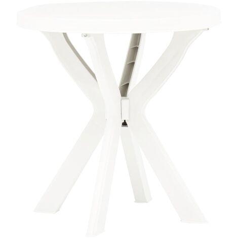 vidaXL Bistro Table Ø70 cm Plastic White - White