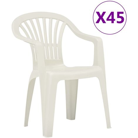 vidaXL Stackable Garden Chairs 45 pcs Plastic White - White