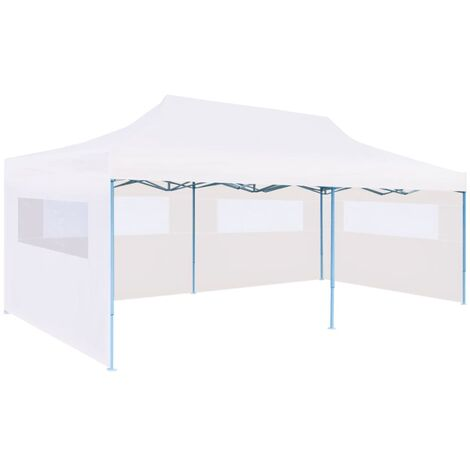 vidaXL Folding Pop-up Partytent with Sidewalls 3x6 m Steel White - White