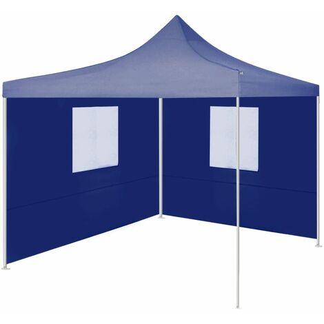 vidaXL Professional Folding Party Tent with 2 Sidewalls 2x2 m Steel Blue - Blue
