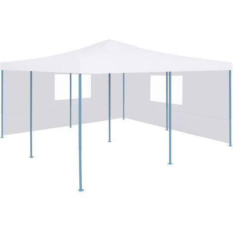 vidaXL Folding Gazebo with 2 Sidewalls 5x5 m White - White