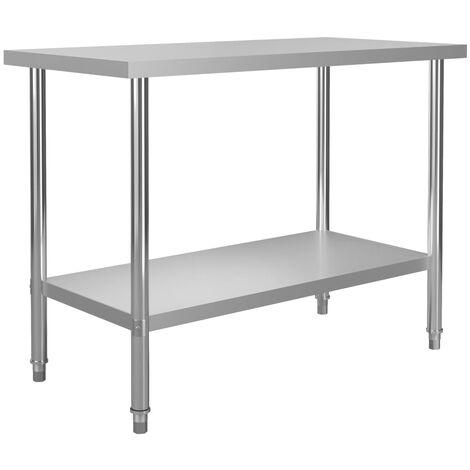 vidaXL Kitchen Work Table 120x60x85 cm Stainless Steel