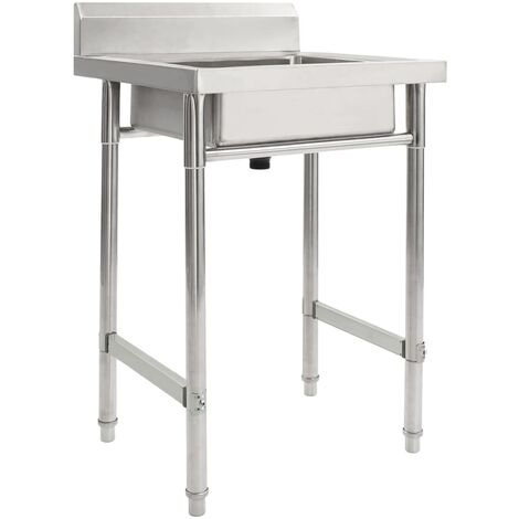 vidaXL Kitchen Sink Single Basin Stainless Steel - Silver