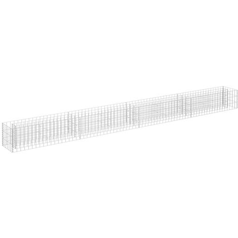 vidaXL Gabion Raised Bed Galvanised Steel 360x30x30 cm - Silver